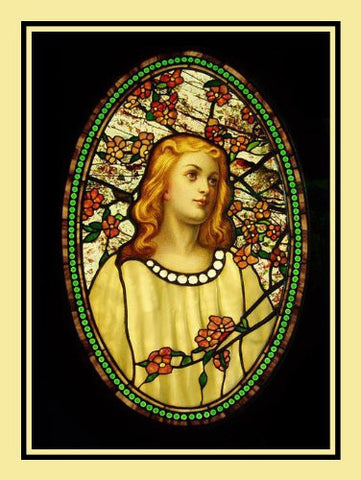 Angelic Girl Flower Blossoms inspired by Louis Comfort Tiffany  Counted Cross Stitch Pattern
