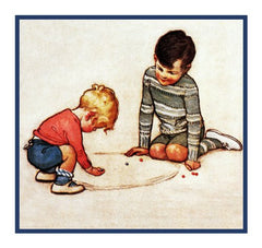 Brothers Playing Jacks By Jessie Willcox Smith Counted Cross Stitch or Counted Needlepoint Pattern