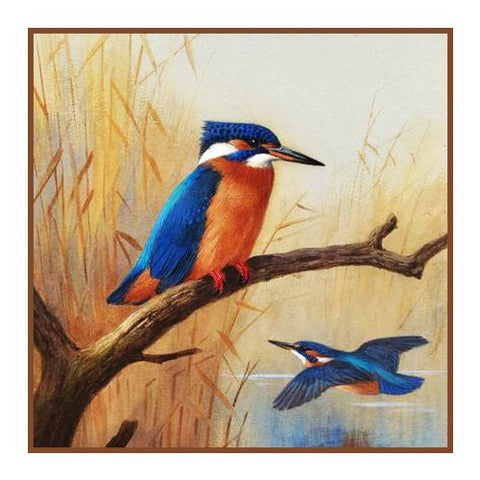 Pair of Kingfisher Birds By Naturalist Archibald Thorburn's Counted Cross Stitch or Counted Needlepoint Pattern
