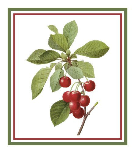 Cherries Botanical Inspired by Pierre-Joseph Redoute Counted Cross Stitch or Counted Needlepoint Pattern