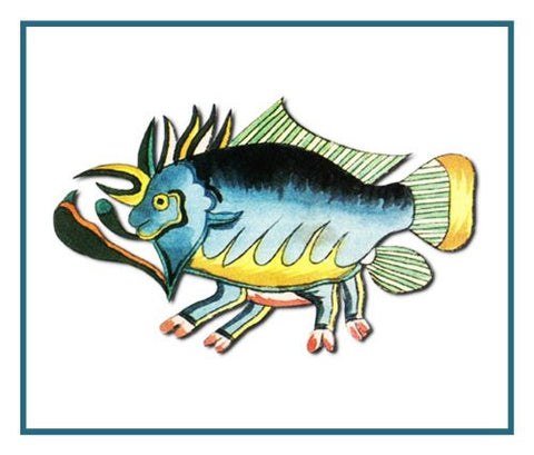 Fallours' Renard's Fantastic Colorful Tropical Frog Fish Counted Cross Stitch or Counted Needlepoint Pattern