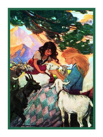 Heidi and Clara With Lambs By Jessie Willcox Smith Counted Cross Stitch or Counted Needlepoint Pattern