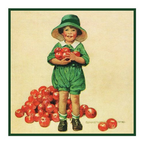 Youngster Apple Picking By Jessie Willcox Smith Counted Cross Stitch Pattern