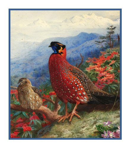 Crimson Pheasant by Naturalist Archibald Thorburn's Birds Counted Cross Stitch or Counted Needlepoint Pattern - Orenco Originals LLC