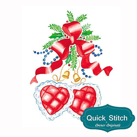 Quick Stitch Country Christmas 2 Heart Decorations Counted Cross Stitch or Counted Needlepoint Pattern