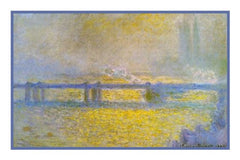 Charing Cross Bridge on an Overcast Day inspired by Claude Monet's impressionist painting Counted Cross Stitch  Pattern - Orenco Originals LLC