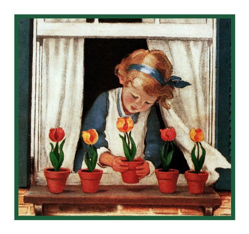 Young Girl Watering Her Window Box Flowers By Jessie Willcox Smith Counted Cross Stitch or Counted Needlepoint Pattern