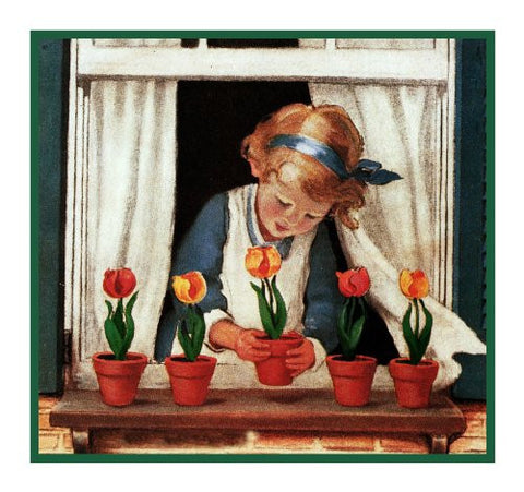 Young Girl Watering Her Window Box Flowers By Jessie Willcox Smith Counted Cross Stitch Pattern