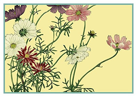 Tanigami Konan Asian Cosmos Flowers Counted Cross Stitch or Counted Needlepoint Pattern