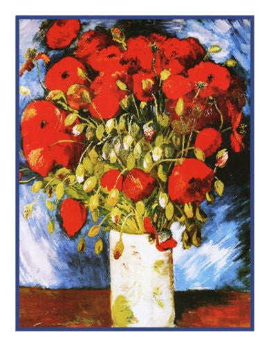 Poppies inspired by Vincent Van Gogh's impressionist painting Counted Cross Stitch or Counted Needlepoint Pattern