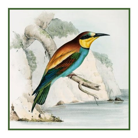 Bee Eater by Naturalist John Gould Birds Counted Cross Stitch Pattern