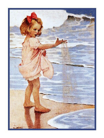 Young Girl Pink Sands at Waters EdgeBy Jessie Willcox Smith Counted Cross Stitch Pattern