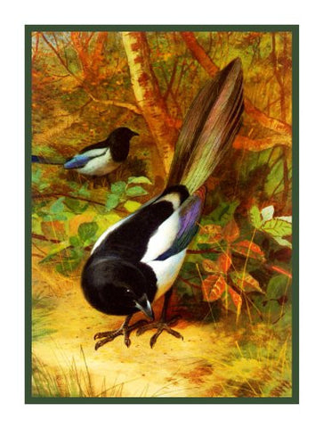 Eurasian Magpies by Naturalist Archibald Thorbur'sn Birds Counted Cross Stitch Pattern