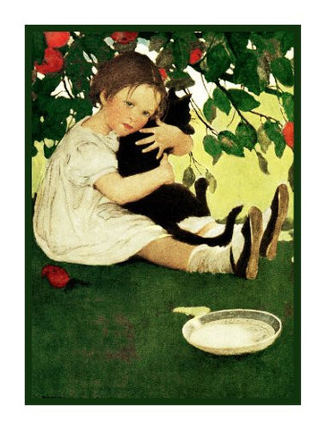 Young Girl Hugging Her Kitten By Jessie Willcox Smith Counted Cross Stitch Pattern