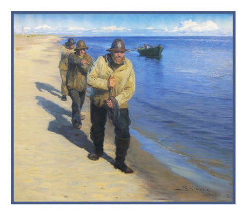 Scandinavian Artist Peder Severin Kroyers painting of Fishermen Pulling a Boat on the Beach Counted Needlepoint Chart
