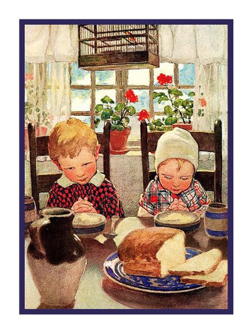 Children Giving Thanks for their Meal By Jessie Willcox Smith Counted Cross Stitch Pattern