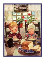 Children Giving Thanks for their Meal By Jessie Willcox Smith Counted Cross Stitch  Pattern - Orenco Originals LLC