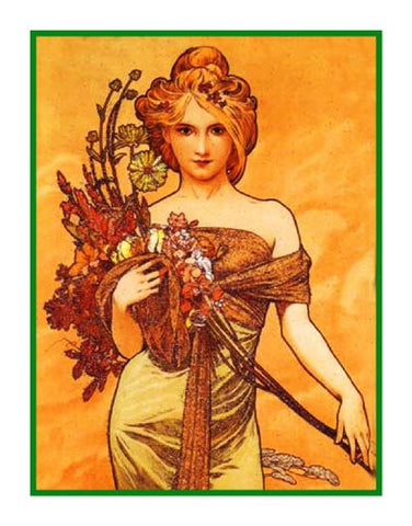 Spring by Alphonse Mucha Counted Cross Stitch Pattern