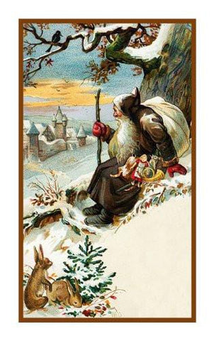 Victorian Father Christmas Naturalist Santa Delivering Presents with Rabbits in the Snow Counted Cross Stitch Pattern Digital Download