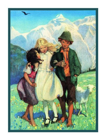Heidi Peter and Clara Take a Walk By Jessie Willcox Smith Counted Cross Stitch Pattern