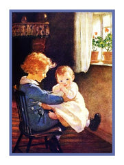 Big Sister Bouncing Baby on Her Knee By Jessie Willcox Smith Counted Cross Stitch or Counted Needlepoint Pattern