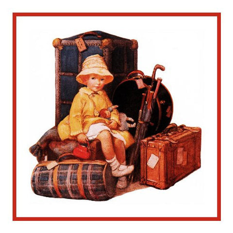 A Child Watching The Luggage By Jessie Willcox Smith Counted Cross Stitch or Counted Needlepoint Pattern