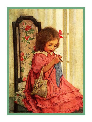 A Little Girls Knitting Project By Jessie Willcox Smith Counted Cross Stitch or Counted Needlepoint Pattern