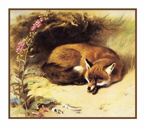 Red Fox in Front of Her Den By Naturalist Archibald Thorburn's Animal Counted Cross Stitch or Counted Needlepoint Pattern