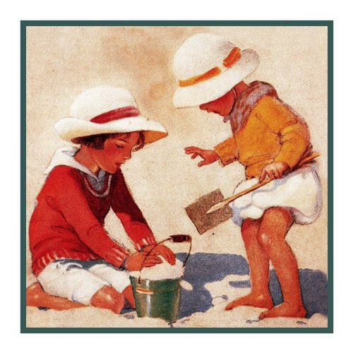 Brothers Playing at The Beach By Jessie Willcox Smith Counted Cross Stitch or Counted Needlepoint Pattern