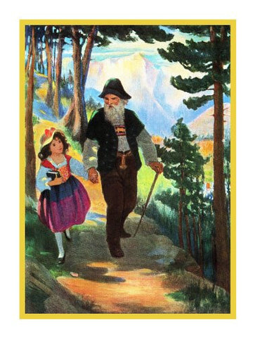Heidi and Grandfather Take A Walk By Jessie Willcox Smith Counted Cross Stitch or Counted Needlepoint Pattern