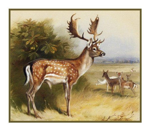 Fallow Deer by Naturalist Archibald Thorburn's Animal Counted Cross Stitch or Counted Needlepoint Pattern