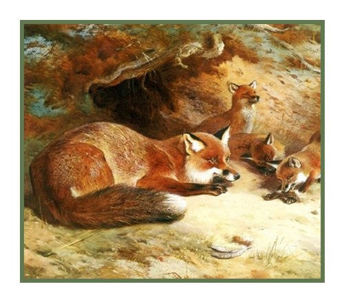Red Fox Family by Naturalist Archibald Thorburn's Animal Counted Cross Stitch or Counted Needlepoint Pattern