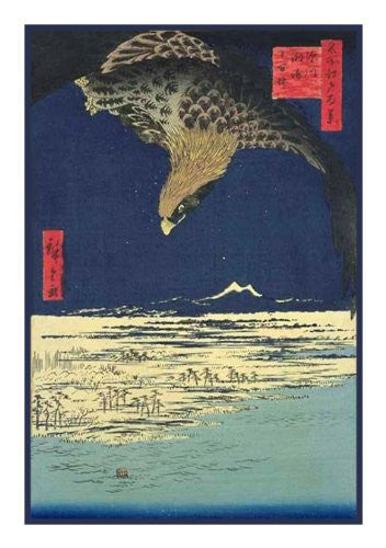 Eagle Soaring Above the Plain at Susaki-(Fukagawa Susaki and Jumantsubo) by Utagawa Hiroshige Counted Cross Stitch or Counted Needlepoint Pattern - Orenco Originals LLC