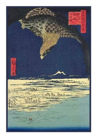 Eagle Soaring Above the Plain at Susaki-(Fukagawa Susaki and Jumantsubo) by Utagawa Hiroshige Counted Cross Stitch Pattern