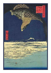 Eagle Soaring Above the Plain at Susaki-(Fukagawa Susaki and Jumantsubo) by Utagawa Hiroshige Counted Cross Stitch  Pattern - Orenco Originals LLC