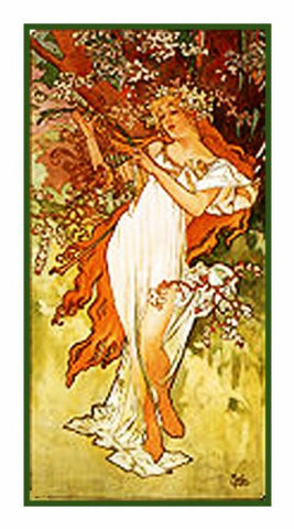 The Seasons Spring by Alphonse Mucha Counted Cross Stitch Pattern