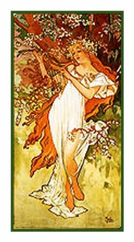 The Seasons Spring by Alphonse Mucha Counted Cross Stitch Pattern DIGITAL DOWNLOAD