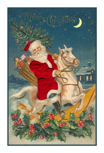 Christmas Horse Pictures.Victorian Father Christmas Santa Riding A Rocking Horse Counted Cross Stitch Pattern