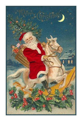 Victorian Father Christmas Santa Riding A Rocking Horse Counted Cross Stitch Pattern Digital Download