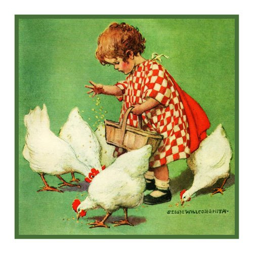Little Girl feeding the Chickens By Jessie Willcox Smith Counted Cross Stitch or Counted Needlepoint Pattern