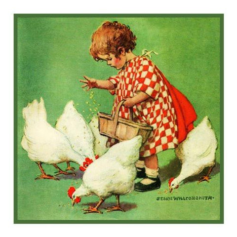 Little Girl feeding the Chickens By Jessie Willcox Smith Counted Cross Stitch Pattern DIGITAL DOWNLOAD