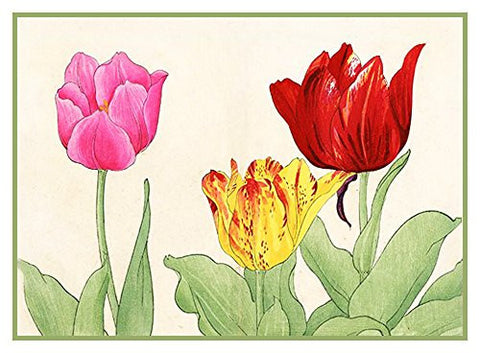 Tanigami Konan Asian Tulip Flowers Counted Cross Stitch or Counted Needlepoint Pattern