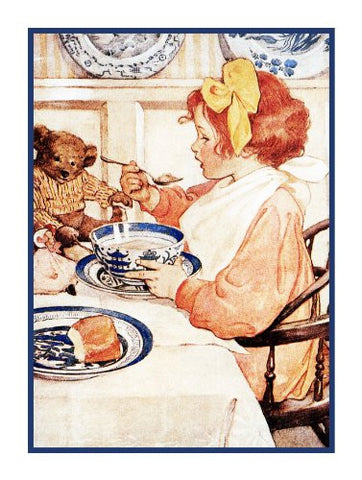 Breakfast With My Teddy Bear By Jessie Willcox Smith Counted Cross Stitch or Counted Needlepoint Pattern