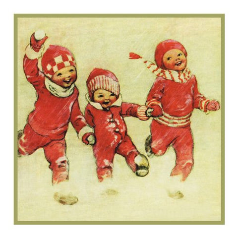 Children Frolicking In The Snow By Jessie Willcox Smith Counted Cross Stitch or Counted Needlepoint Pattern