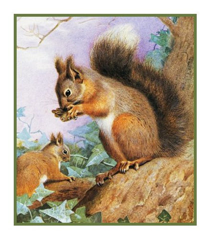 Tree Squirrels Animals by Naturalist Archibald Thorburn's Animals Counted Cross Stitch Pattern