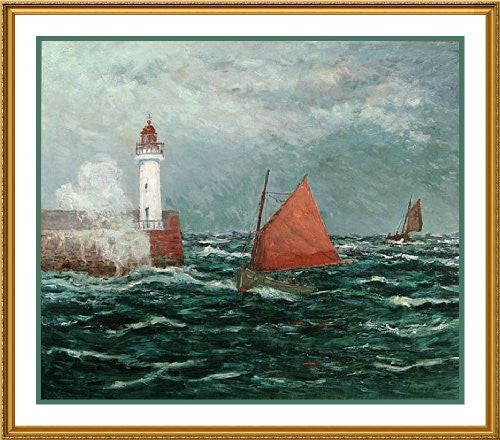 Maxime Maufra Returning Fishing Boats Counted Cross Stitch or Counted Needlepoint Chart