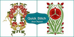 Art Nouveau Designs #8 Quick Stitch Flower 2 Counted Cross Stitch or 2 Counted Needlepoint Patterns