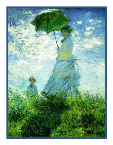 Woman with a Parasol inspired by Claude Monet's impressionist painting Counted Cross Stitch Pattern