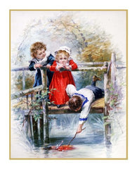 Victorian Doll in Danger by Maud Humphrey Bogart Counted Cross Stitch or Counted Needlepoint Pattern