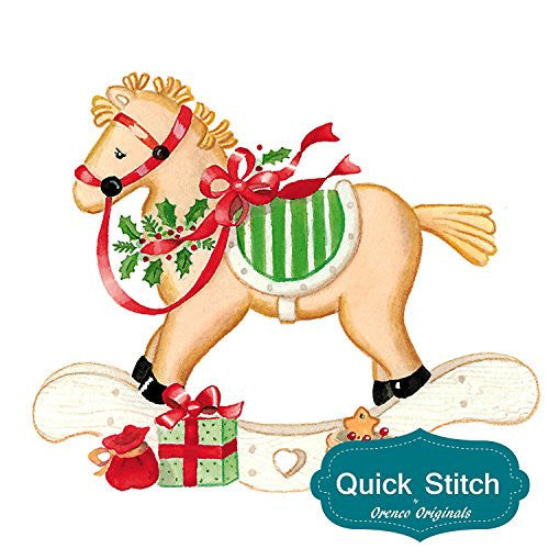 Quick Stitch Country Christmas Rocking Horse Counted Cross Stitch or Counted Needlepoint Pattern